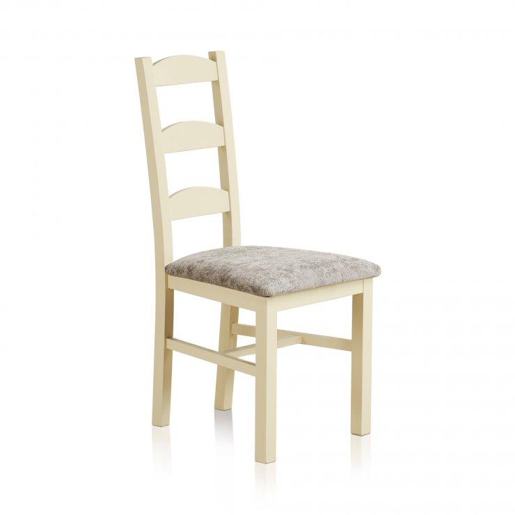 Country Cottage Natural Oak Painted and Plain Truffle Fabric Dining Chair - Image 3