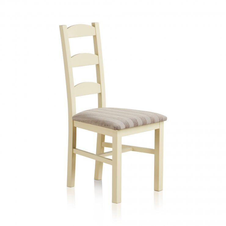 Country Cottage Natural Oak Painted and Striped Silver Fabric Dining Chair - Image 3