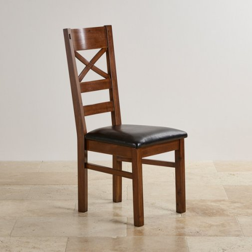 Cranbrook Dark Natural Solid Oak and Black Leather Dining Chair