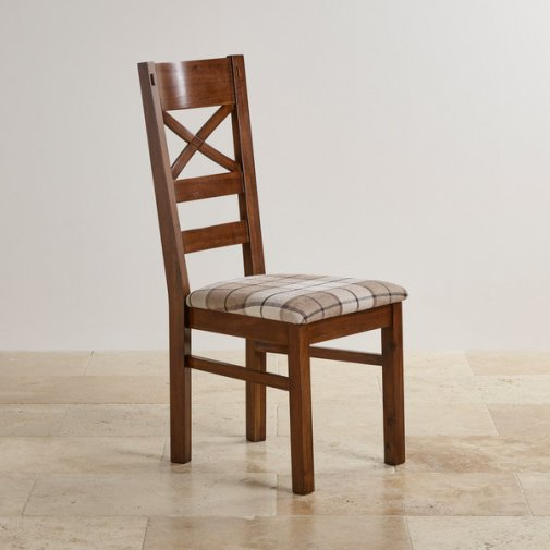 Cranbrook Dark Natural Solid Oak and Check Brown Fabric Dining Chair