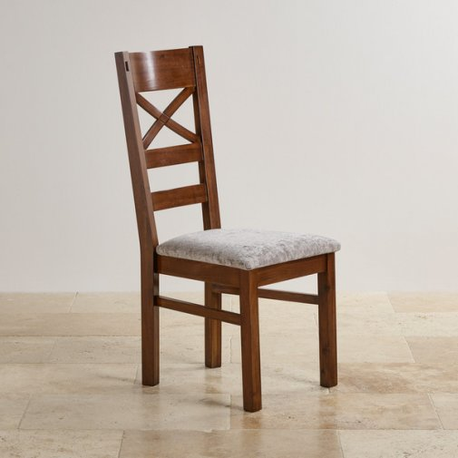 Cranbrook Dark Natural Solid Oak and Plain Truffle Fabric Dining Chair