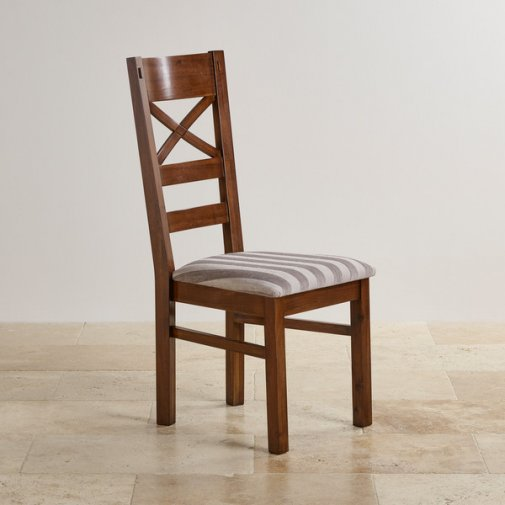 Cranbrook Dark Natural Solid Oak and Striped Silver Fabric Dining Chair