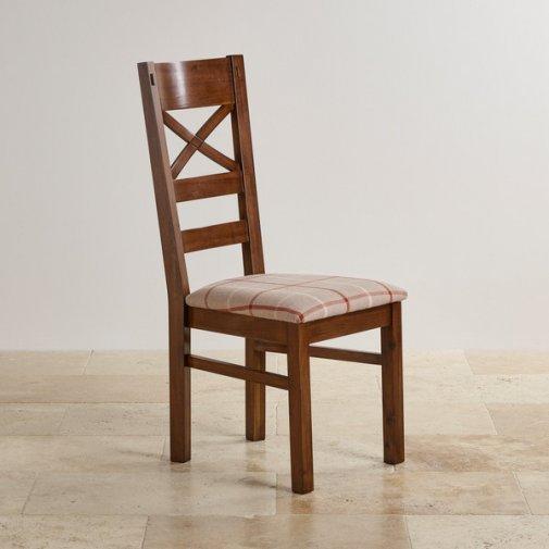 Cranbrook Dark Natural Solid Oak and Check Natural Fabric Dining Chair
