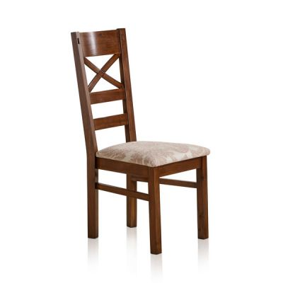 Cranbrook Dark Natural Solid Oak and Patterned Beige Fabric Dining Chair
