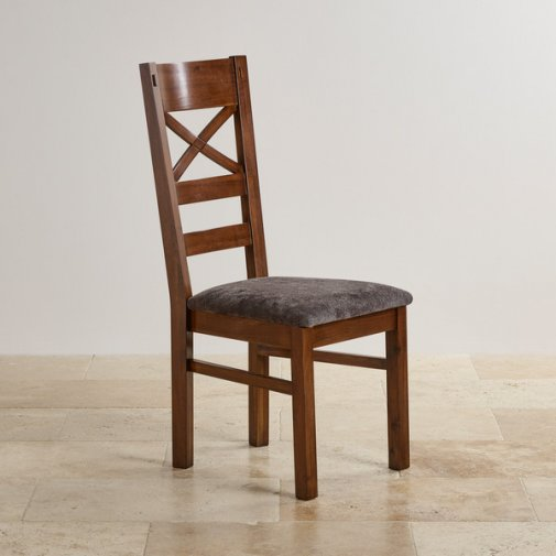 Cranbrook Dark Natural Solid Oak and Plain Charcoal Fabric Dining Chair