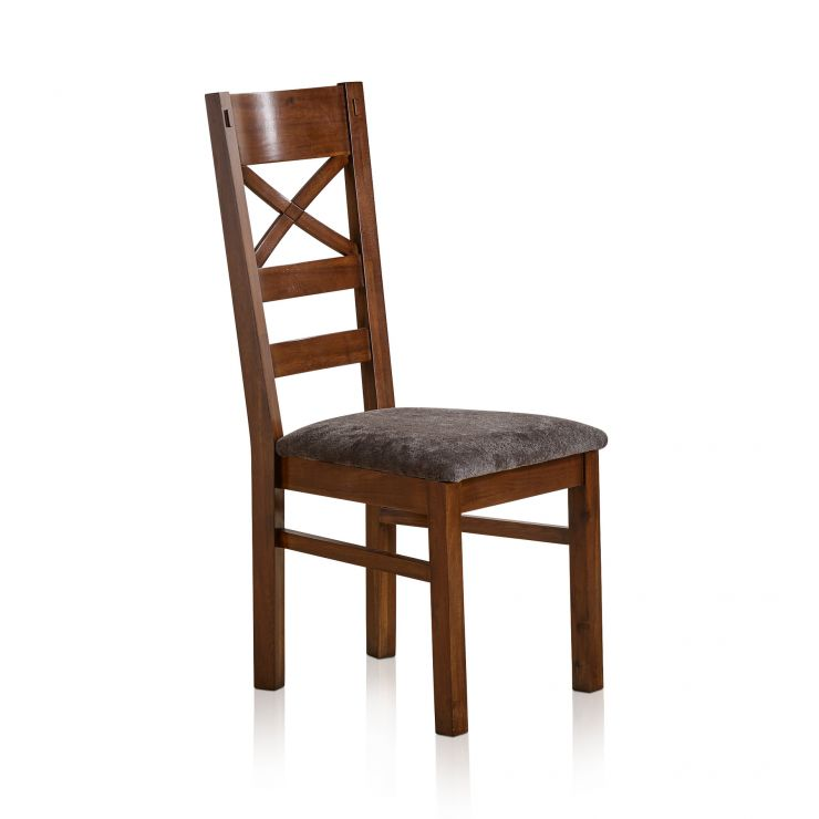 Cranbrook Solid Hardwood and Plain Charcoal Fabric Dining Chair