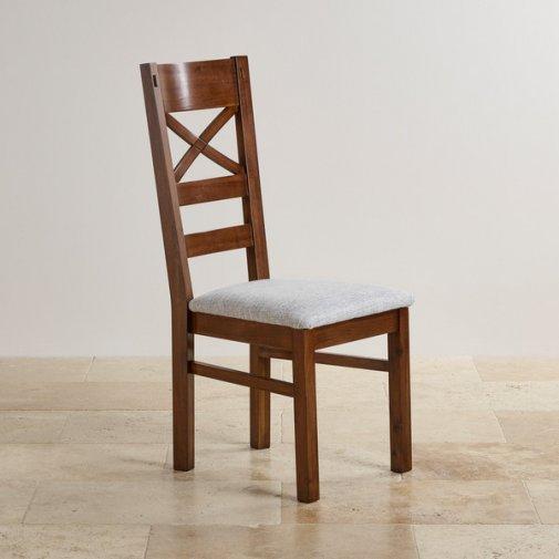 Cranbrook Dark Natural Solid Oak and Plain Grey Fabric Dining Chair