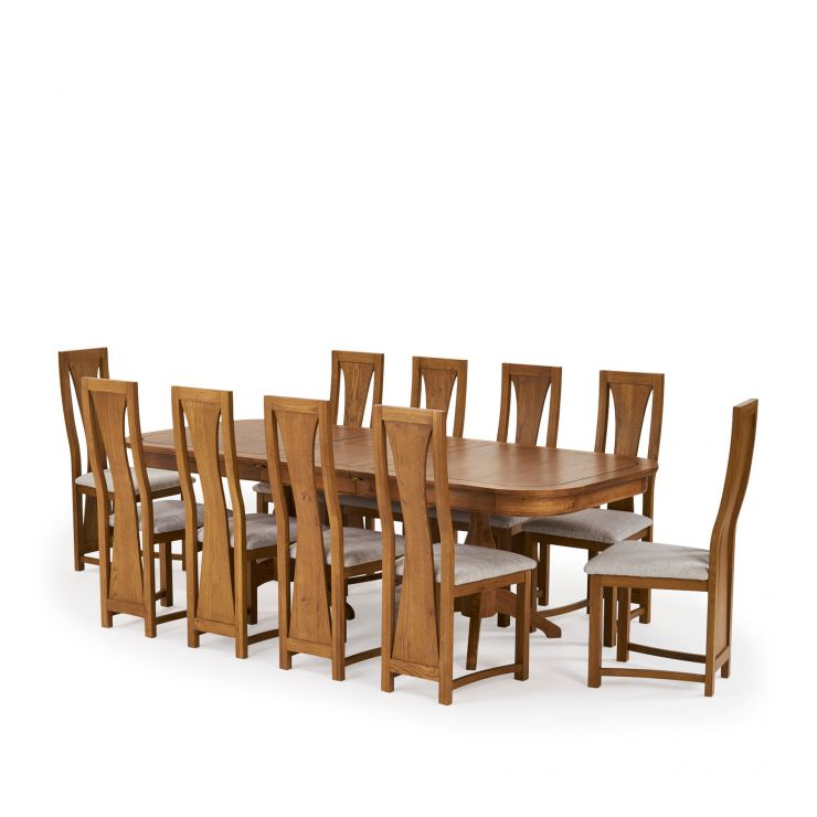 "Crawford 5ft 3"" – 7ft 6"" Extending Dining Table in Solid Oak and 10 Waterfall Chairs"