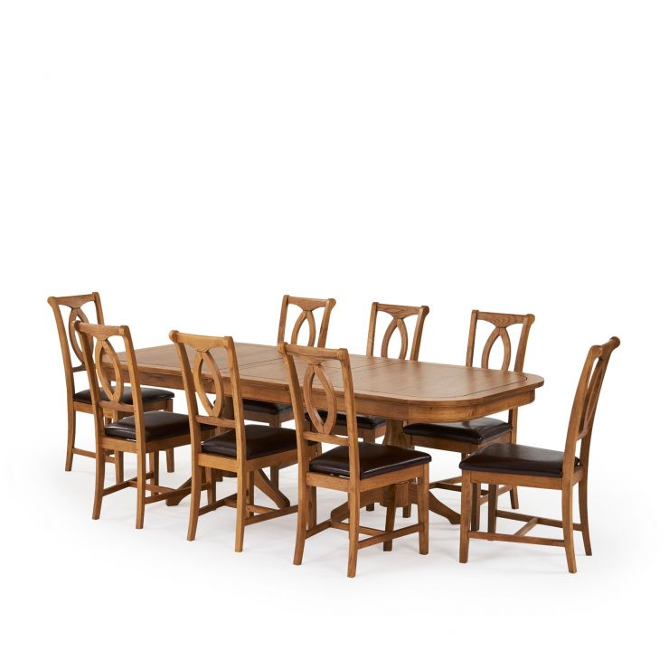 "Crawford 5ft 3"" – 7ft 6"" Extending Dining Table in Solid Oak and 8 Rustic Chairs"