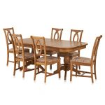 Crawford Rustic Solid Oak 6ft Extending Dining Table with 6 Crawford Chairs - Thumbnail 1