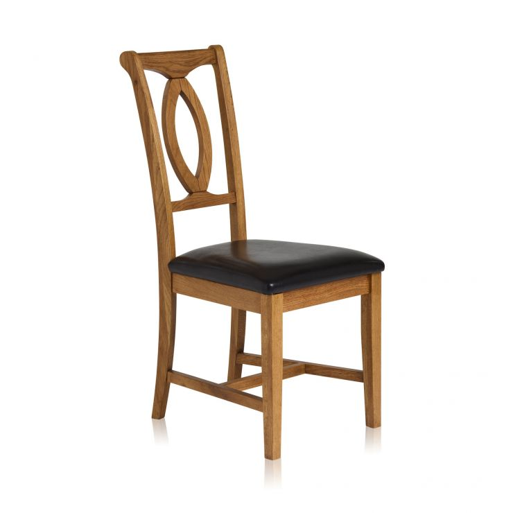 Crawford Rustic Solid Oak and Black Leather Dining Chair - Image 1