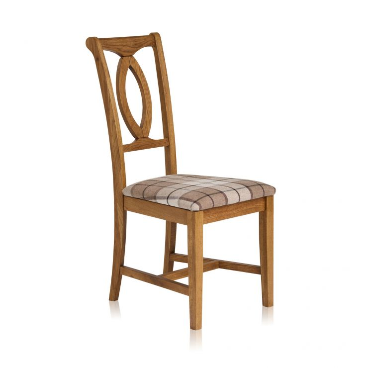 Crawford Rustic Solid Oak and Check Brown Fabric Dining Chair