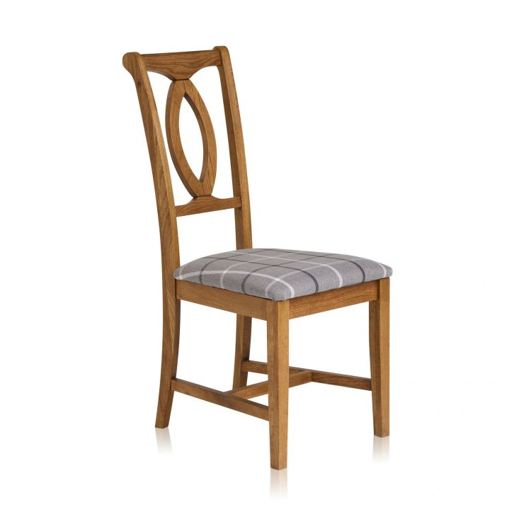 Crawford Rustic Solid Oak and Check Granite Fabric Dining Chair - Image 1