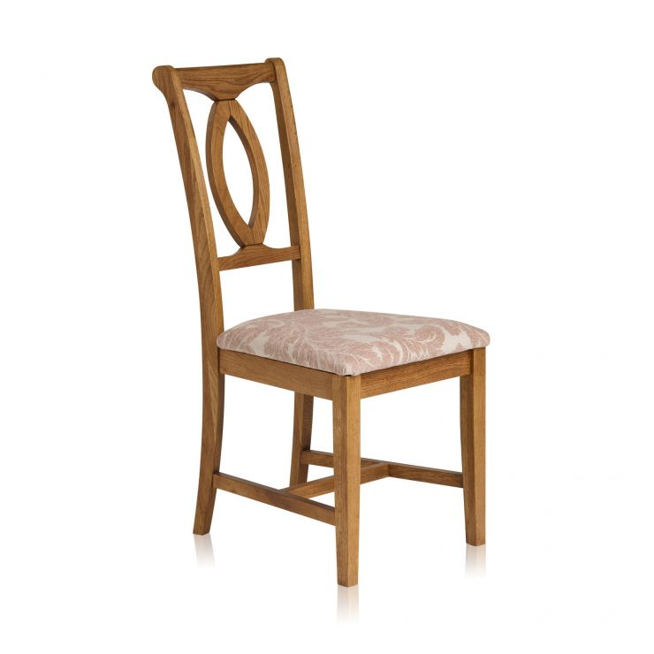Crawford Rustic Solid Oak and Patterned Beige Fabric Dining Chair