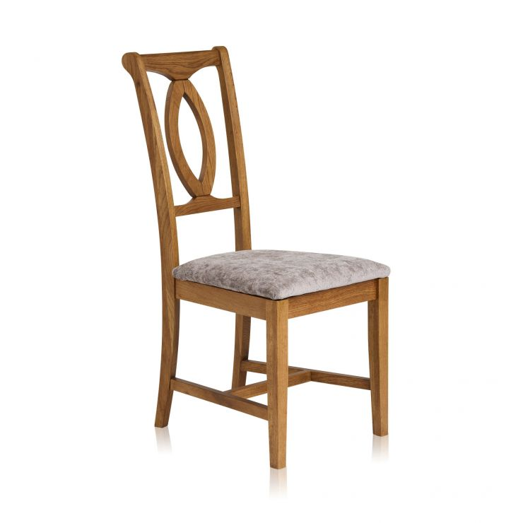 Crawford Rustic Solid Oak and Plain Truffle Fabric Dining Chair - Image 1