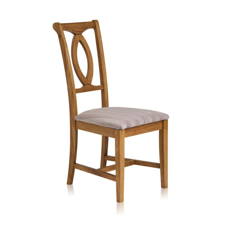Crawford Rustic Solid Oak and Striped Silver Fabric Dining Chair
