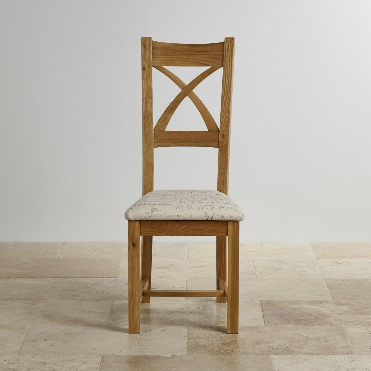 Cross Back Natural Solid Oak Dining Chair with Beige Script Fabric Chair Pad