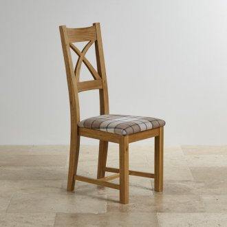 Cross Back Natural Solid Oak Dining Chair with Brown Checked Fabric Chair Pad