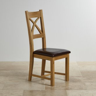 Cross Back Natural Solid Oak Dining Chair with Brown Leather Chair Pad