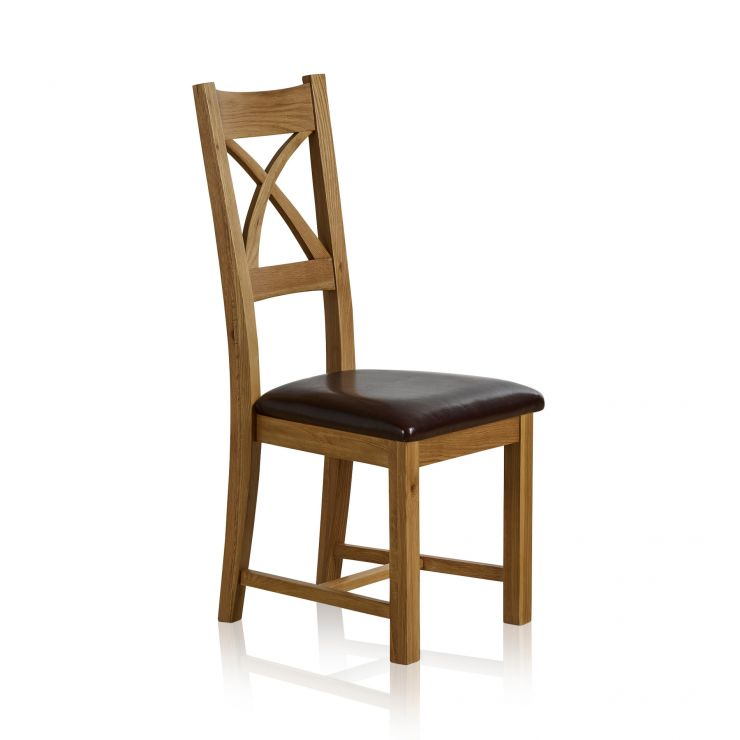 Cross Back Natural Solid Oak Dining Chair with Brown Leather Chair Pad - Image 3