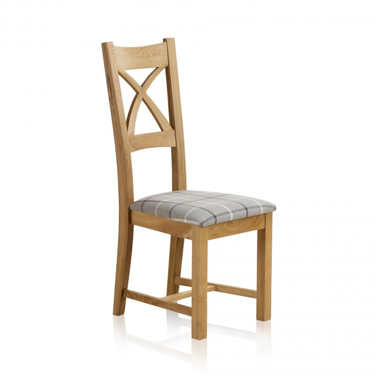 Cross Back Natural Solid Oak Dining Chair with Check Granite Fabric Chair Pad - Image 3