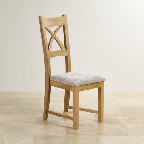 Cross Back Natural Solid Oak Dining Chair with  Plain Truffle Fabric Chair Pad