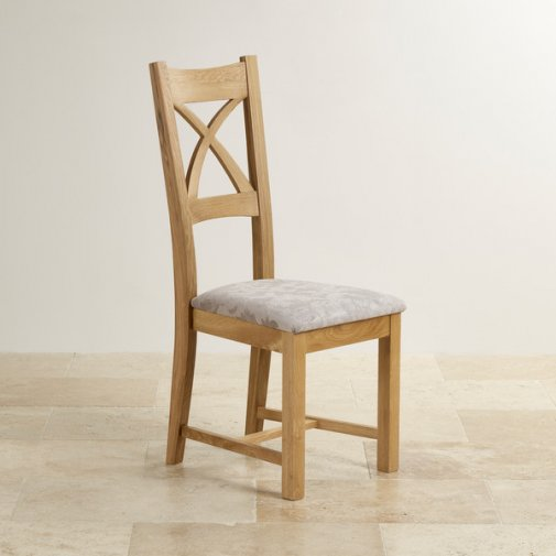 Cross Back Natural Solid Oak Dining Chair with Patterned Silver Fabric Chair Pad