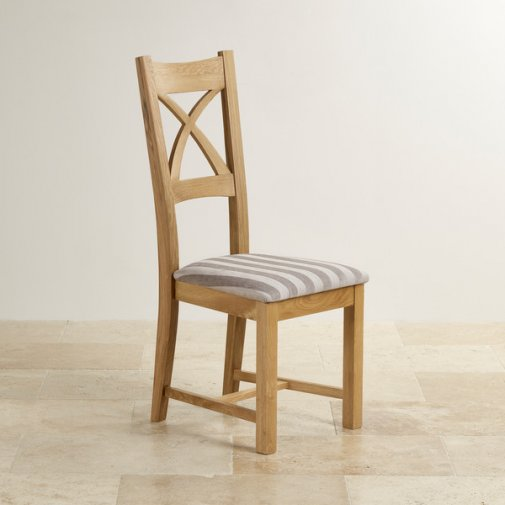 Cross Back Natural Solid Oak Dining Chair with Striped Silver Fabric Chair Pad