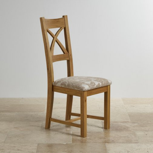Cross Back Natural Solid Oak Dining Chair with Patterned Beige Fabric Chair Pad