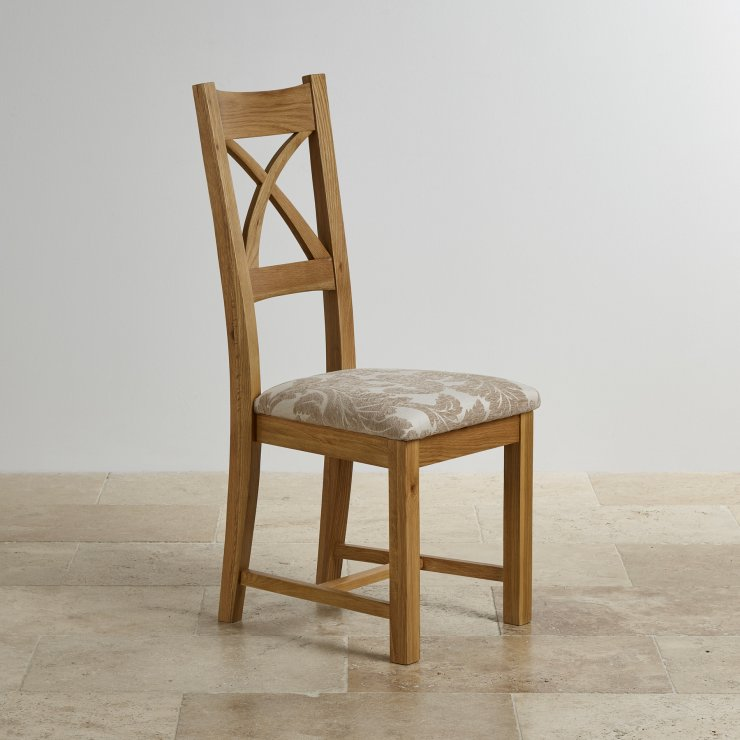 Cross Back Natural Solid Oak Dining Chair with Patterned Beige Fabric Chair Pad - Image 2