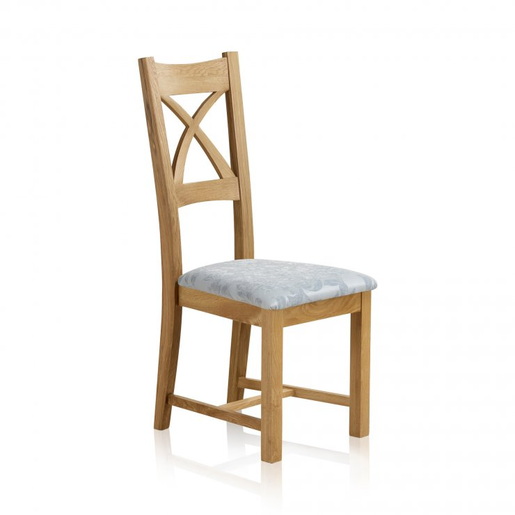 Cross Back Natural Solid Oak Dining Chair with Patterned Duck Egg Fabric Chair Pad - Image 2