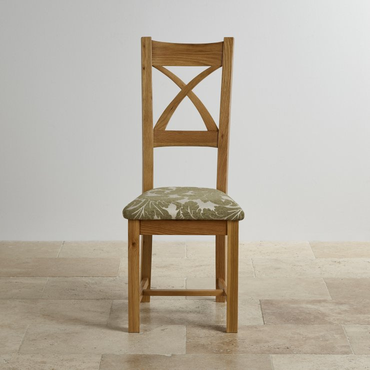 Cross Back Natural Solid Oak Dining Chair with Patterned Sage Fabric Chair Pad
