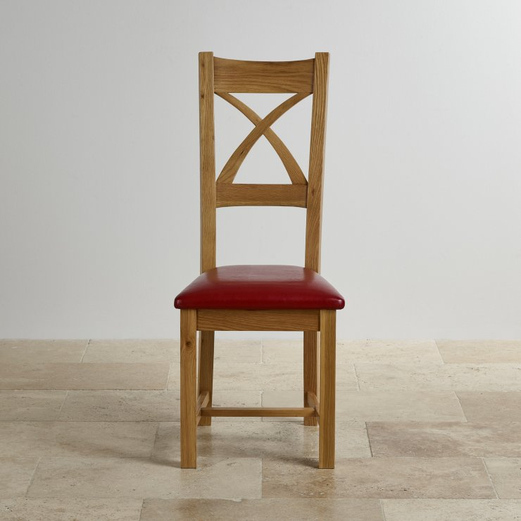 Cross Back Natural Solid Oak Dining Chair with Red Leather Chair Pad