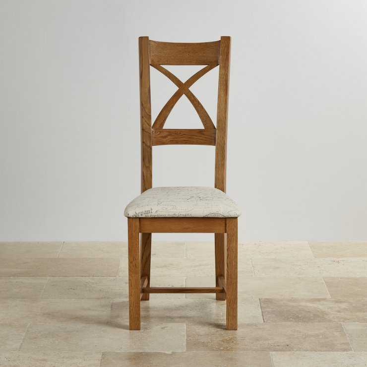 Cross Back Rustic Solid Oak Dining Chair with Beige Script Fabric Chair Pad