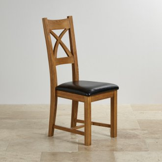 Cross Back Rustic Solid Oak Dining Chair with Black Leather Pads