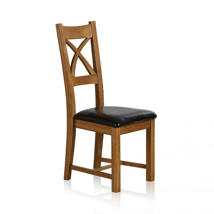 Cross Back Rustic Solid Oak Dining Chair with Black Leather Pads - Image 4