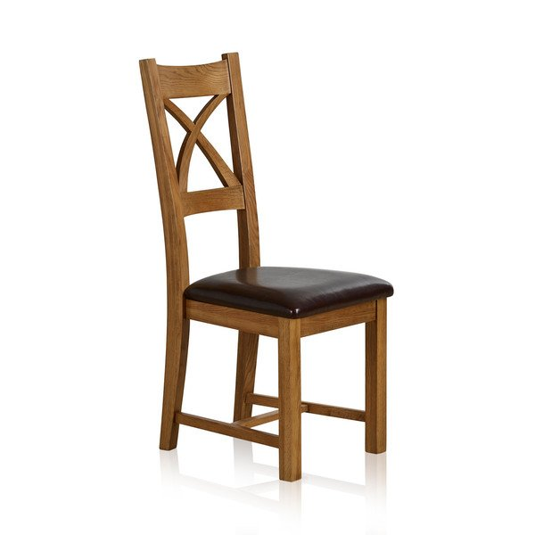 Cross Back Rustic Solid Oak Dining Chair with Brown Leather Chair Pad