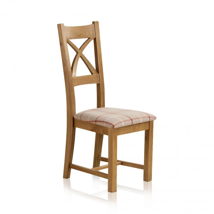 Cross Back Rustic Solid Oak Dining Chair with Check Natural Fabric Chair Pad - Image 1