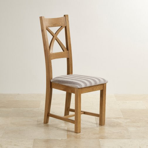 Cross Back Rustic Solid Oak Dining Chair with Striped Silver Fabric Chair Pad