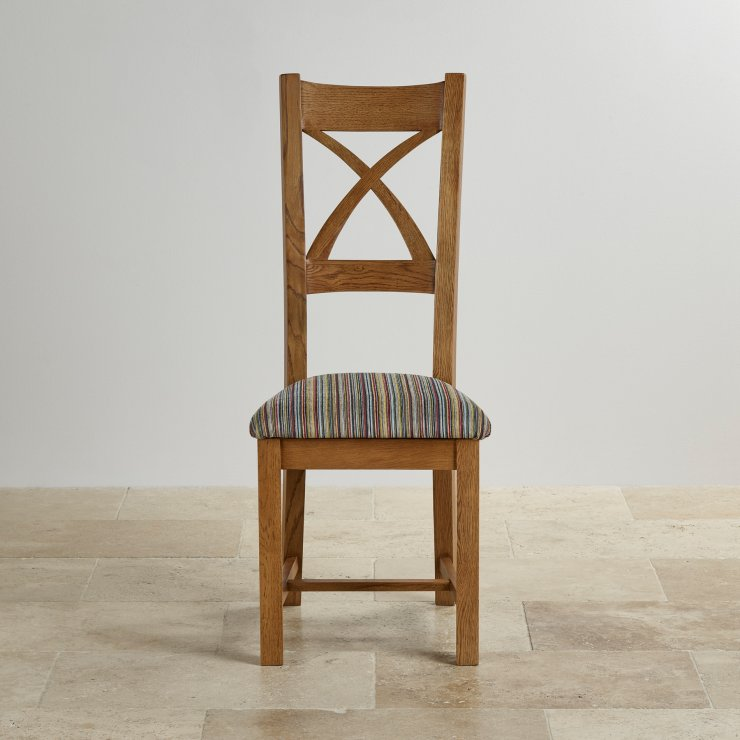 Cross Back Rustic Solid Oak Dining Chair With Multi-coloured Stripe Fabric