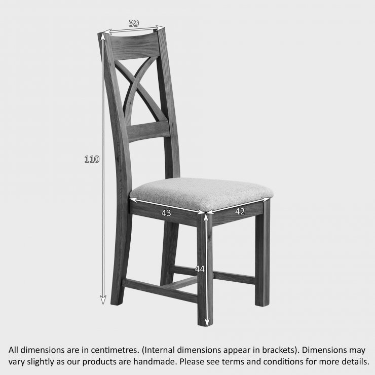 Cross Back Rustic Solid Oak with Patterned Grey Fabric Dining Chair