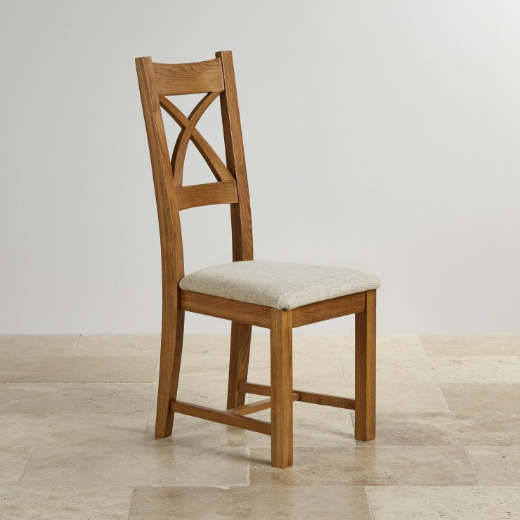 Cross Back Rustic Solid Oak Dining Chair with Plain Beige Fabric Chair Pad - Image 3