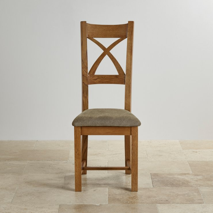 Cross Back Rustic Solid Oak Dining Chair with Plain Sage Fabric Chair Pad