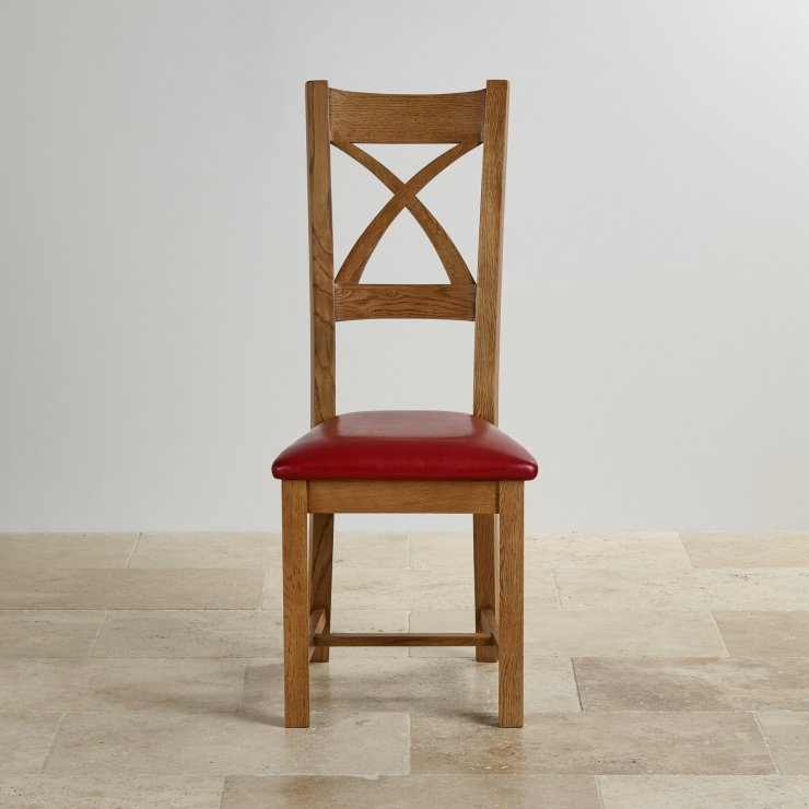 Cross Back Rustic Solid Oak Dining Chair with Red Leather Chair Pad