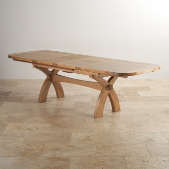 """Hercules 9ft 2"""" x 3ft 3"""" (when extended) Natural Solid Oak Extending Crossed Leg Dining Table"""