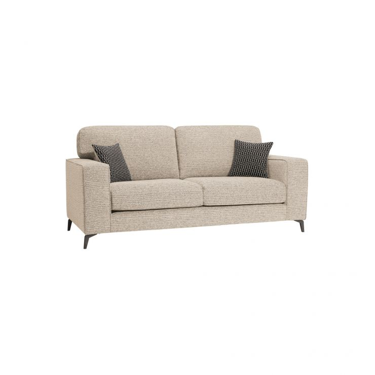 Cube Beige 3 Seater Sofa in Fabric - Image 1
