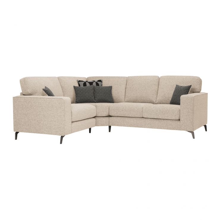 Cube Right Hand Beige Corner Sofa in Fabric - Image 1