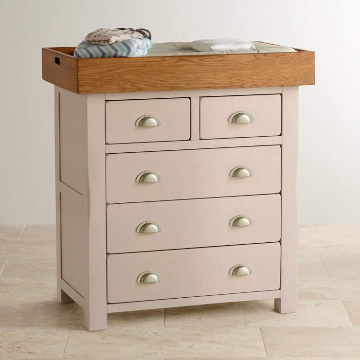 Daisy Rustic Solid Oak and Painted Baby Changer Dresser