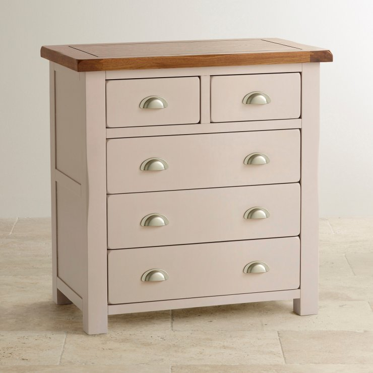 Daisy Rustic Solid Oak and Painted Nursery 3+2 Drawer Chest