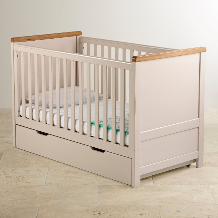 Daisy Rustic Solid Oak and Painted Under Cot Storage Drawer
